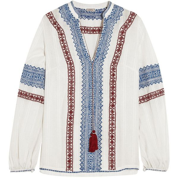 Best Seller Online Cheap Price Original Talitha Woman Embroidered Cotton-voile Tunic Burgundy Size S Talitha Clearance Store For Sale Discount From China lU6hraF