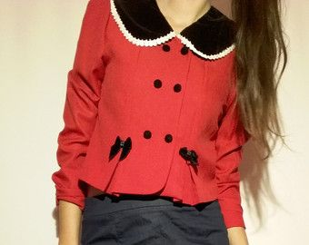 Girl Chic Jacket / Vintage Girl Coat / 90s Red Woman Coat / Teenage Girls Jacket / Vintage Woman Jacket / 90s Cute Jacket / Christmas jacket