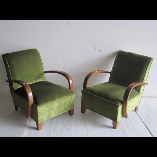 63 2 fauteuils art deco en bois et velours vert 120. Black Bedroom Furniture Sets. Home Design Ideas