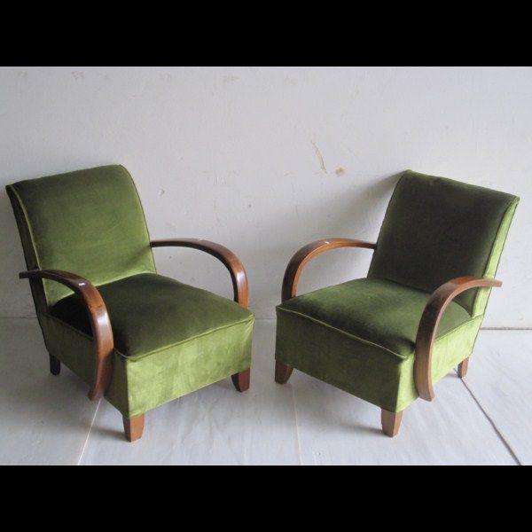 63 2 fauteuils art deco en bois et velours vert 120 60s furniture furniture makeover - Fauteuil Art Deco
