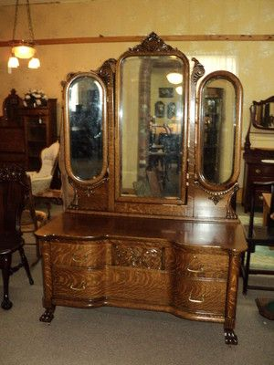 Antique Quarter Sawn Oak Vanity Dresser W 3 Beveled Mirrors Circa 1900 Ebay