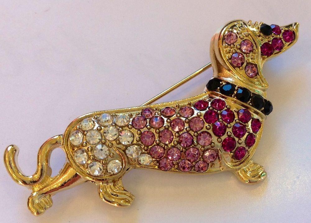 Dachshund Dog Fashion Jewelry Swarovski Crystal Pin Brooch Dachshund Doxi USA   eBay