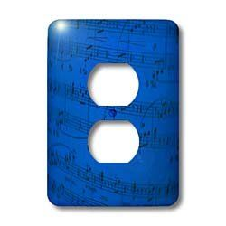 Yves Creations Musical Notes Sheet Music In Blue Light Switch Covers 2 Plug Outlet Dimensions 3 1 2 Inch H Light Switch Covers Best Gifts 3drose