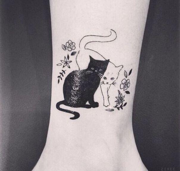 Yin Yang Tattoo On Foot Cat Tattoo Designs Cat Tattoo Cat Tattoo Small