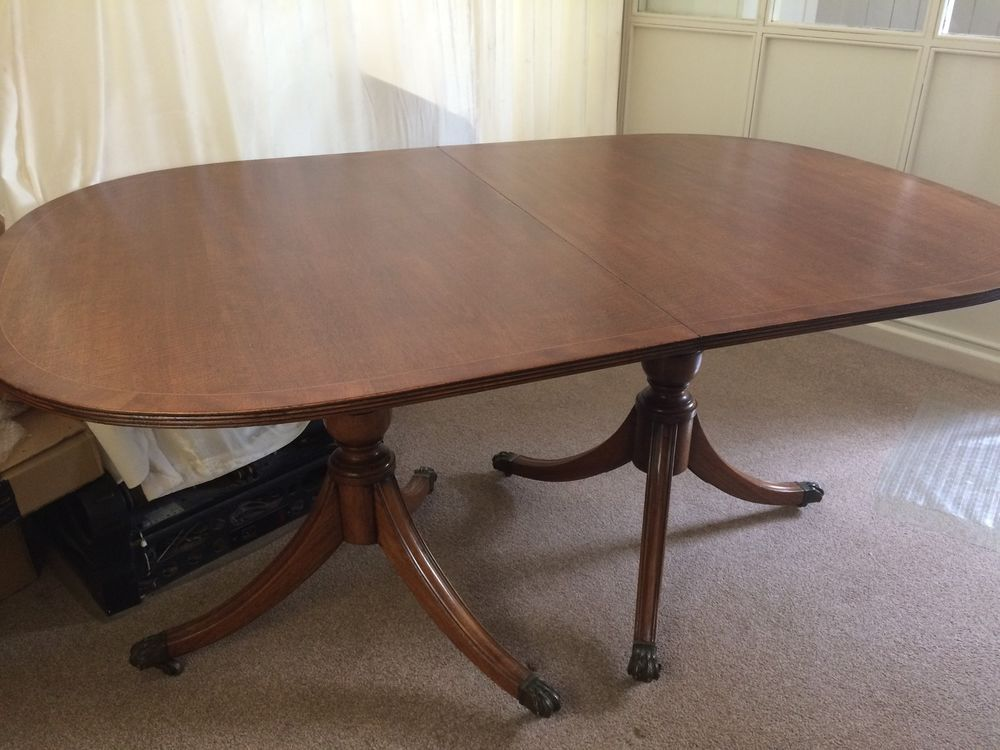 Details About BURR OAK DINING TABLE TWIN PEDESTAL   BRASS CLAW FEET   EXTENDERBLE REDUCED PRICE