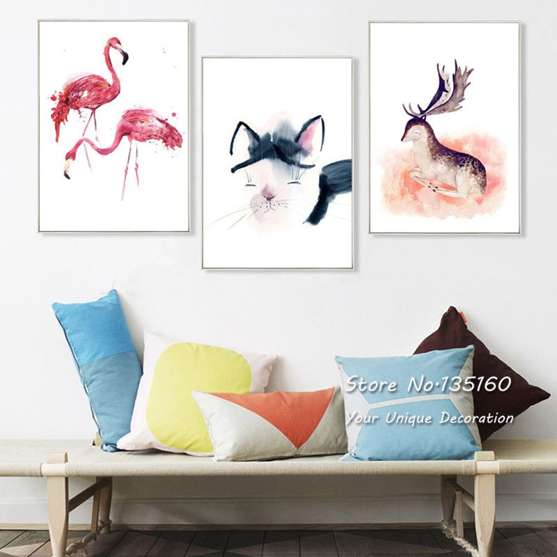 Minimalist Abstract Watercolor Painting Wall Art Canvas Animal Cat Alluring Living Room Paintings Inspiration Design