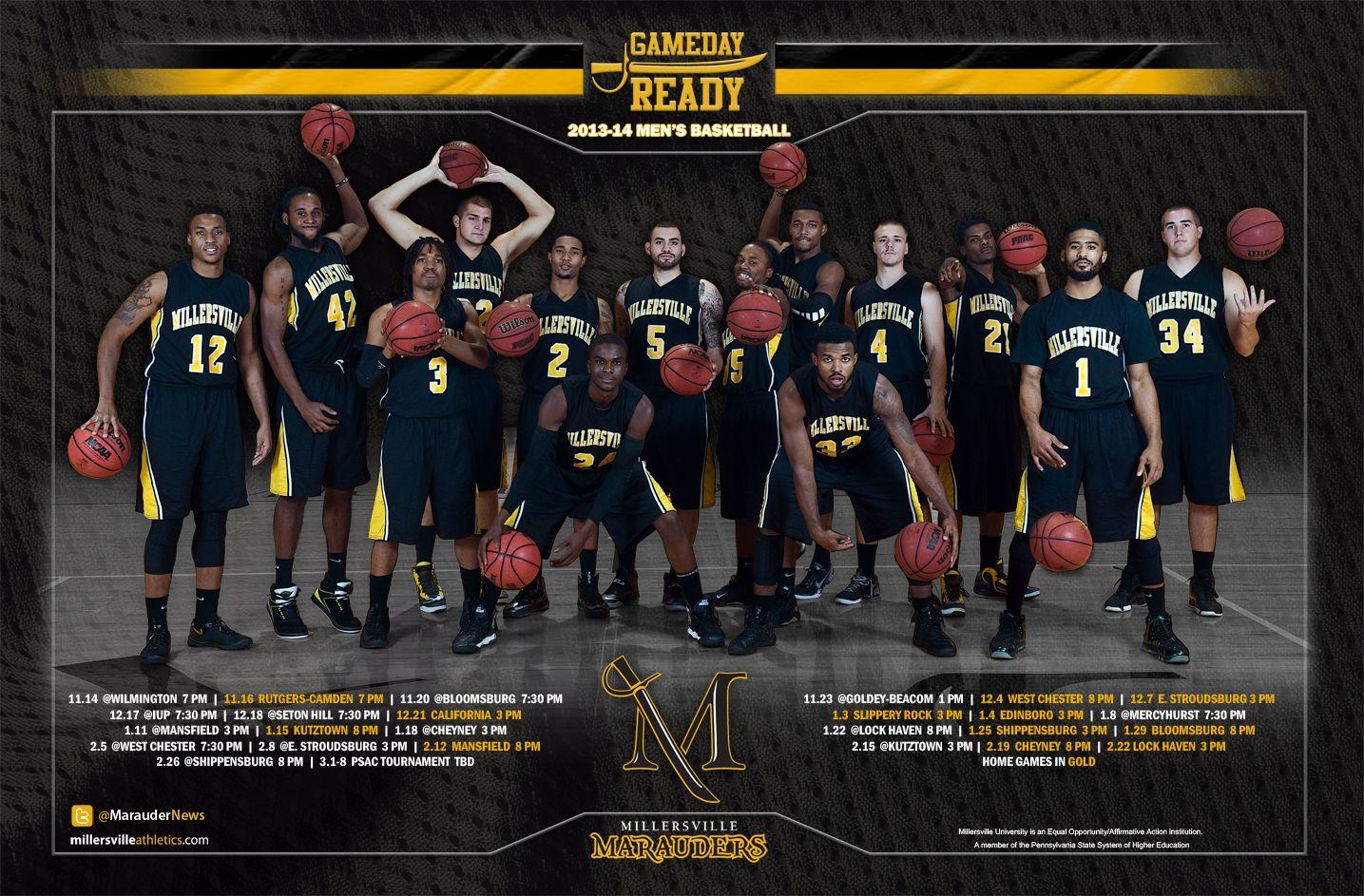 Millersville men's basketball 201314 team schedule poster
