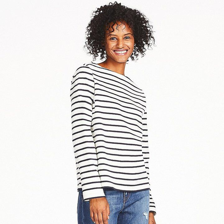 522a284f20ae1 UNIQLO Women s Striped Boat Neck Long Sleeve T-Shirt