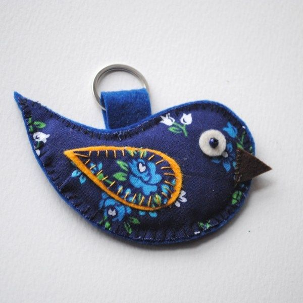 Blue bird fabric and felt key ring key fob #birdfabric