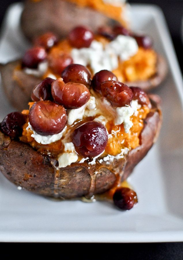 Roasted Grape + Goat Cheese + Honey Stuffed Sweet Potatoes