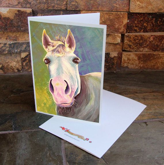 Blank Note Cards with Colorful Horse Art  Horse by ArtByIsadora, #etsymnttsc