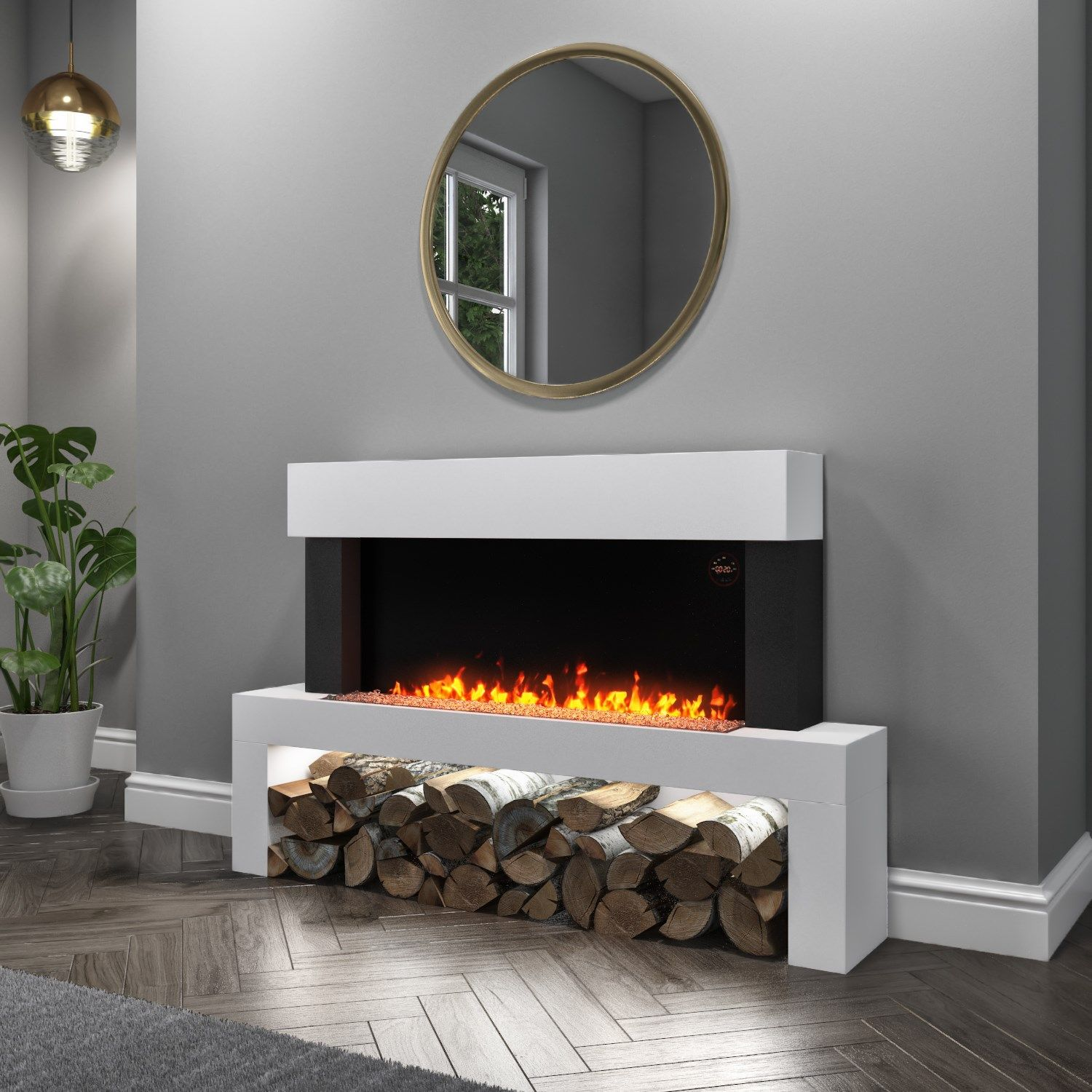 Amberglo White Floor Standing Electric Fireplace Suite Log