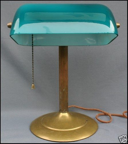 Antique Green Cased Glass Brass Bankers Desk Lamp