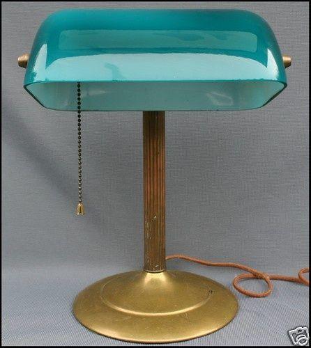 Antique Green Cased Gl Br Bankers Desk Lamp