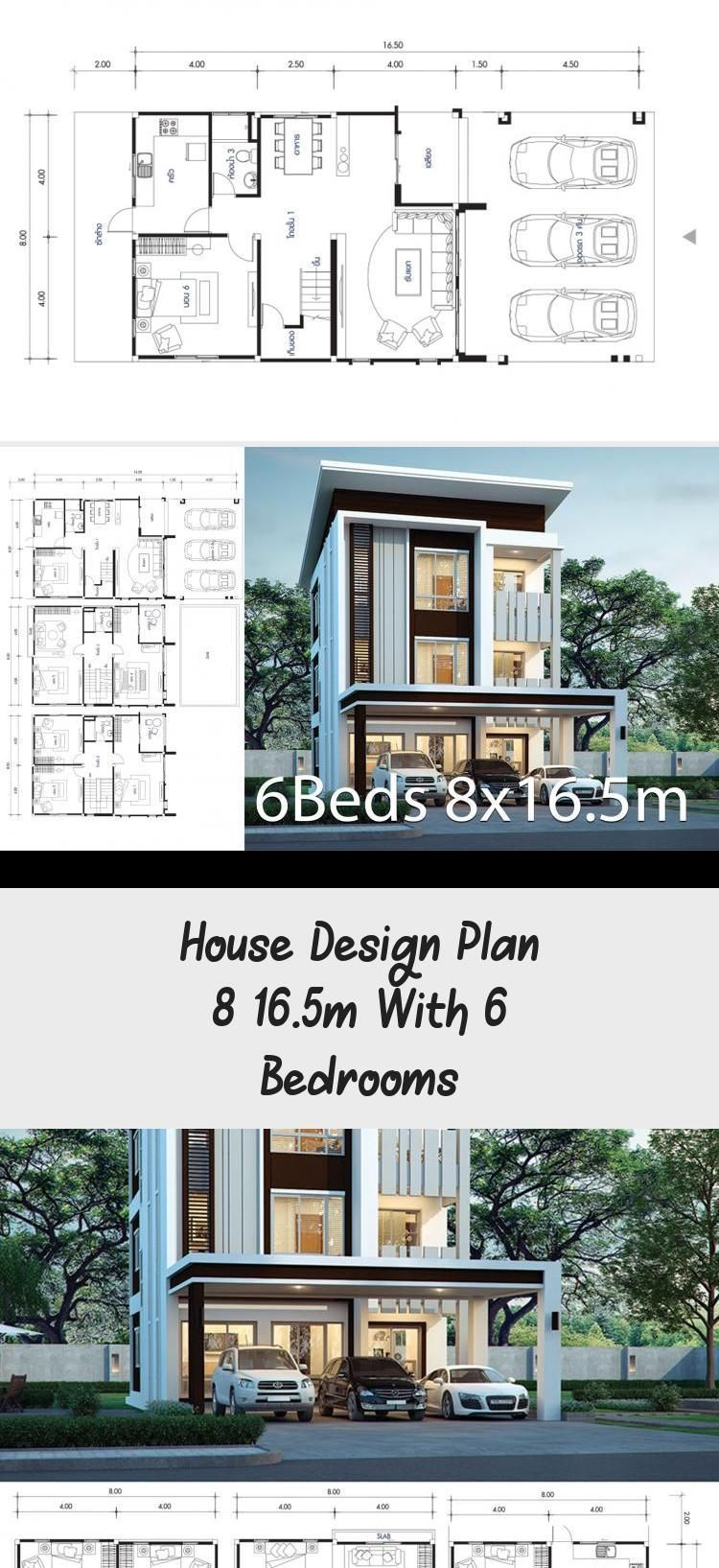 House Design Plan 8x16 5m With 6 Bedrooms Home Design With Plan Houseplanswit 8x165m Bedrooms Design In 2020 Home Design Plans Square House Plans House Design