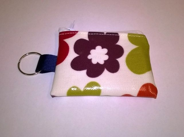 Mini coin purse key ring, Bright floral Oilcloth, lip Vaseline case, Ladies gift