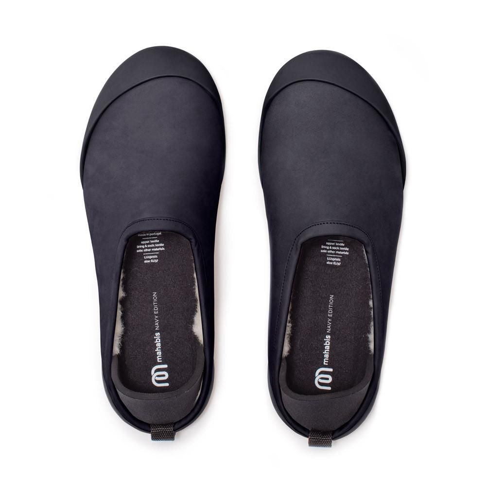 mahabis Navy Luxe Slippers + Navy Detachable Soles qEPOvOPDC