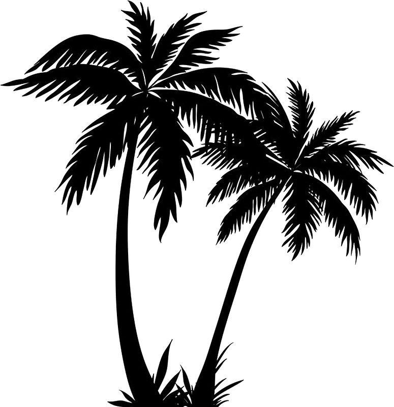 Black palm tree sticker sticker by livpaigedesigns malibou palm tree silhouette palm tree - Palmier clipart ...