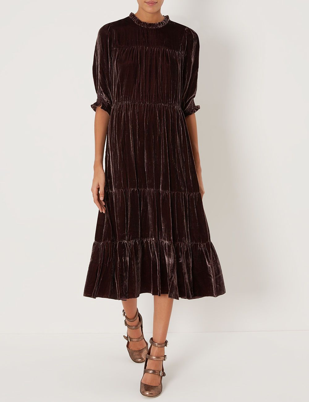 Mulberry Velvet Tiered Paulina Dress By Ulla Johnson From Avenue 32