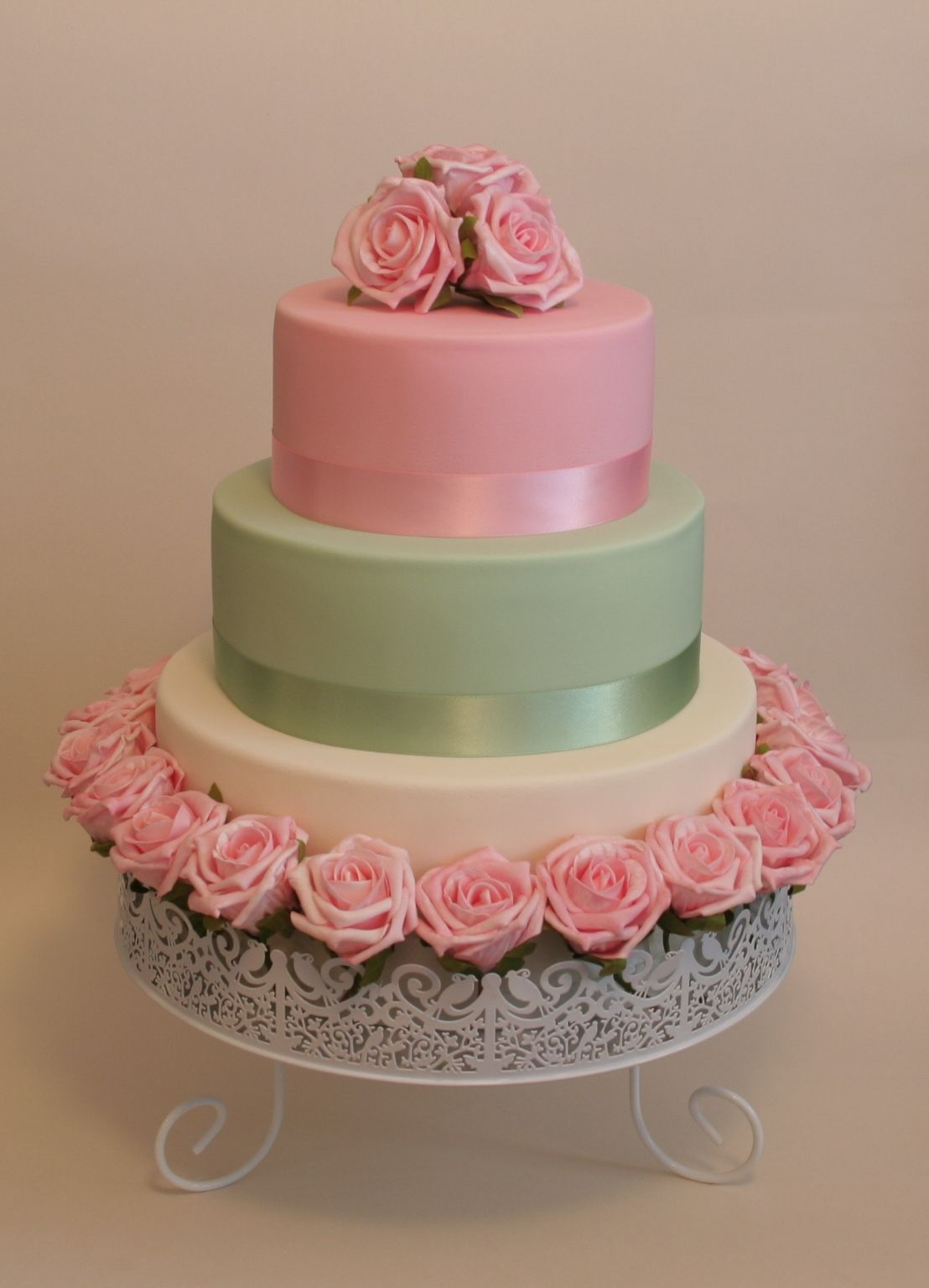 Pastel rose wedding cake - 3 tier vwedding cake covered in fondant ...