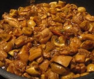 Kuhamo Kitajsko - Dušen piščanec z gobami