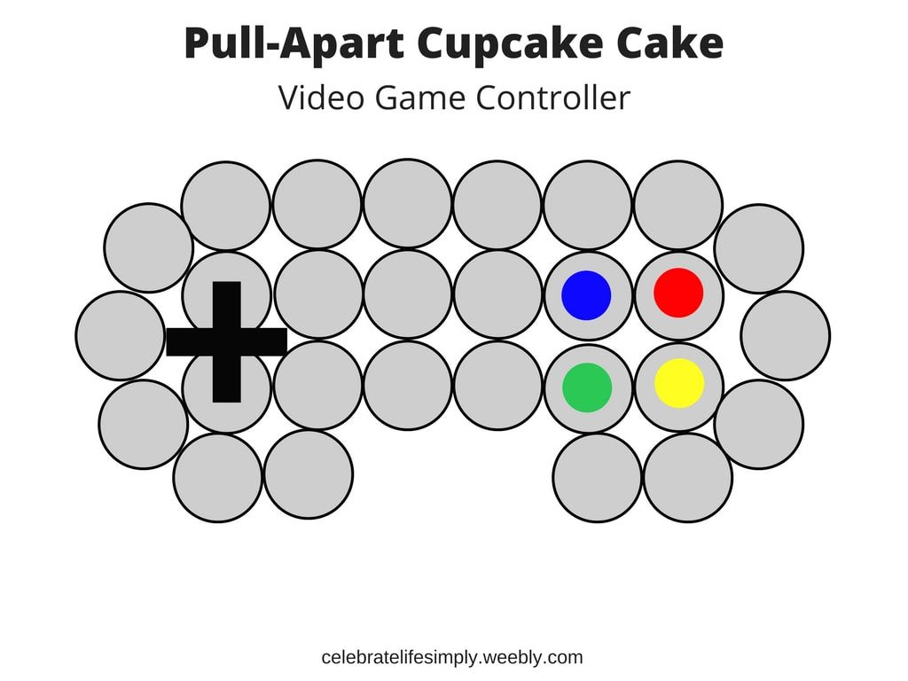 Video Game Controller Pull-Apart Cupcake Cake Template | cakes ...