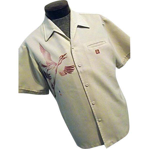 c07ffd272a86 RARE Vintage 1960s Iolani Mens Hawaiian Camp Shirt Lg Screen Printed Cranes  Signed at rubylane.com @rubylane