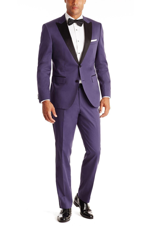 New Arrival Font B Purple Grooms Navy Tuxedos2015 Wedding
