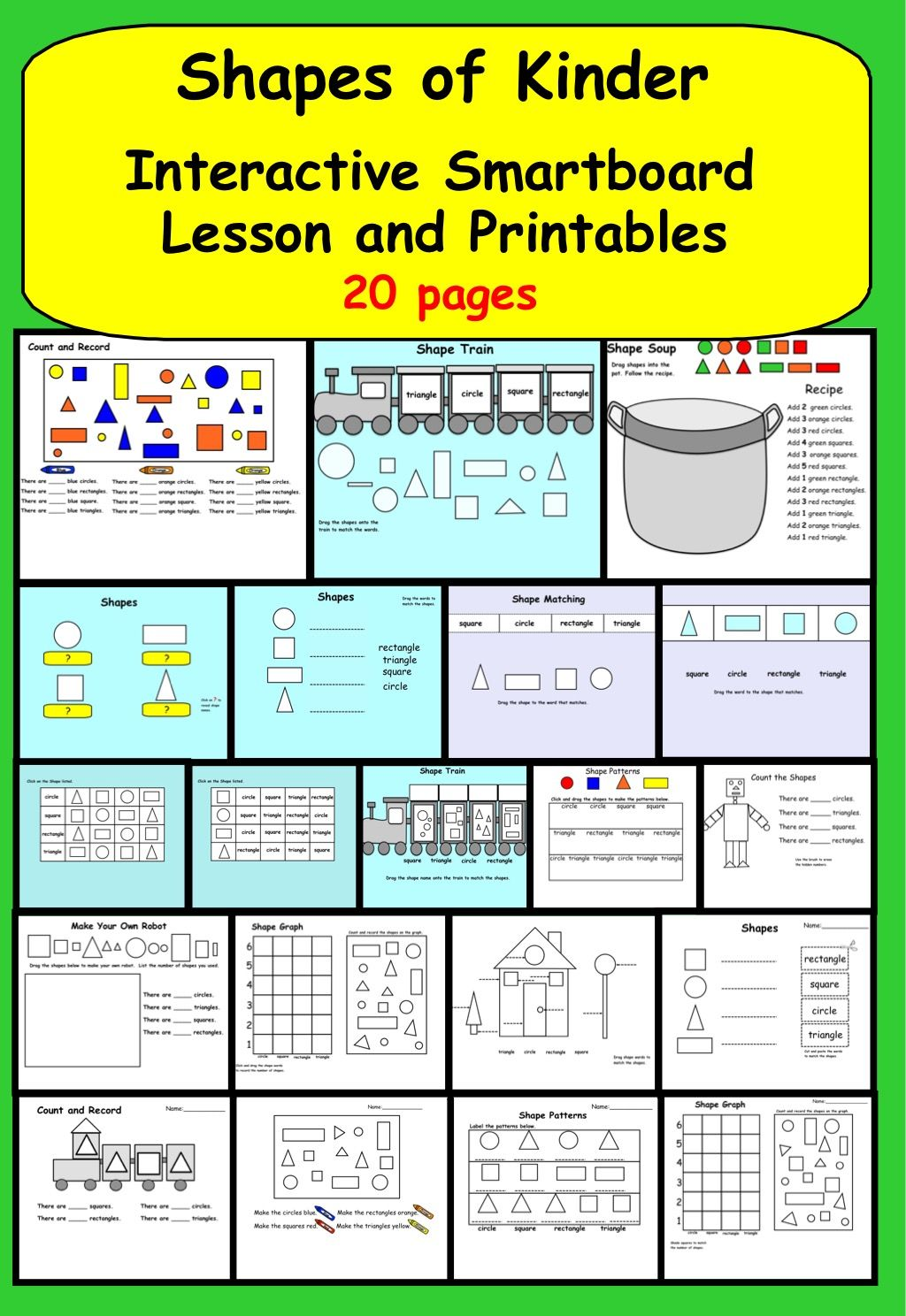 Shapes For Kinder Interactive Smartboard Lesson And