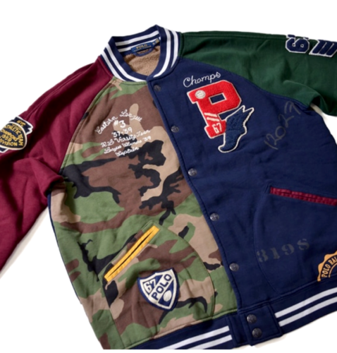 738ec3121 Polo-Ralph-Lauren-Men-Military-US-Army-Camo-Patchwork-Rugby-Tiger-Varsity -Jacket