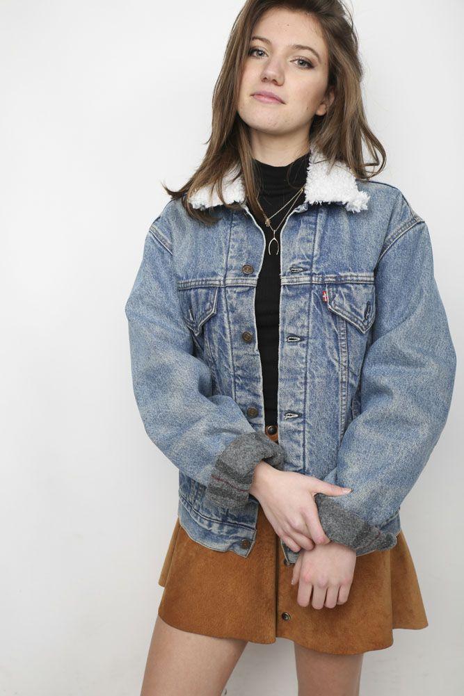 Winter Skirt Outfit, Skirt Outfits, Winter Outfits, Levis Sherpa Jacket,  Boho Fashion 9a96e7aaff