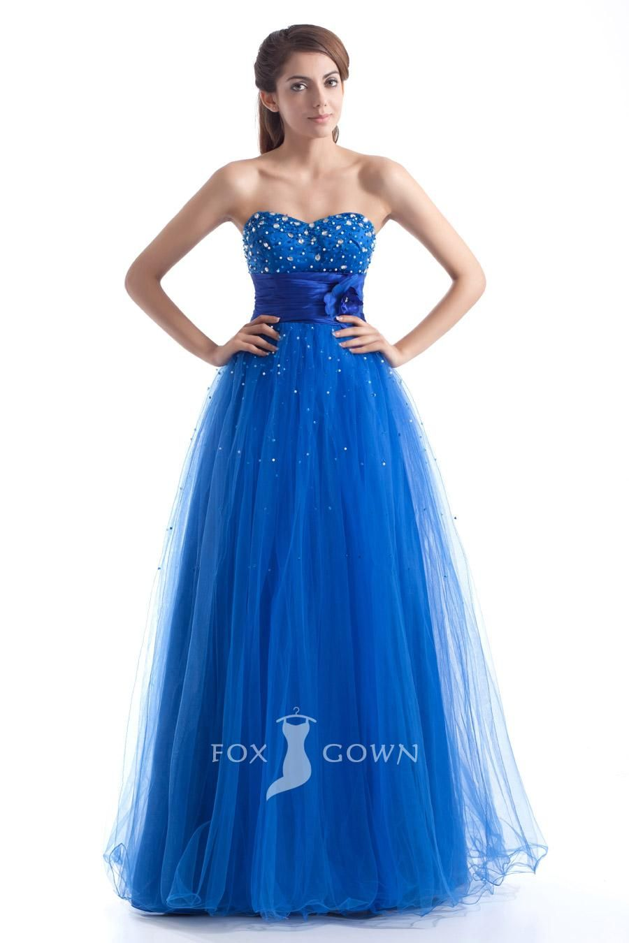 blue sweetheart strapless beaded empire a-line long tulle prom dress