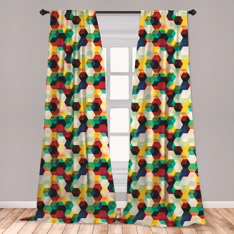 Geometric Room Darkening Rod Pocket Curtain Panels In 2020 Rod Pocket Curtain Panels Rod Pocket Curtains Panel Curtains