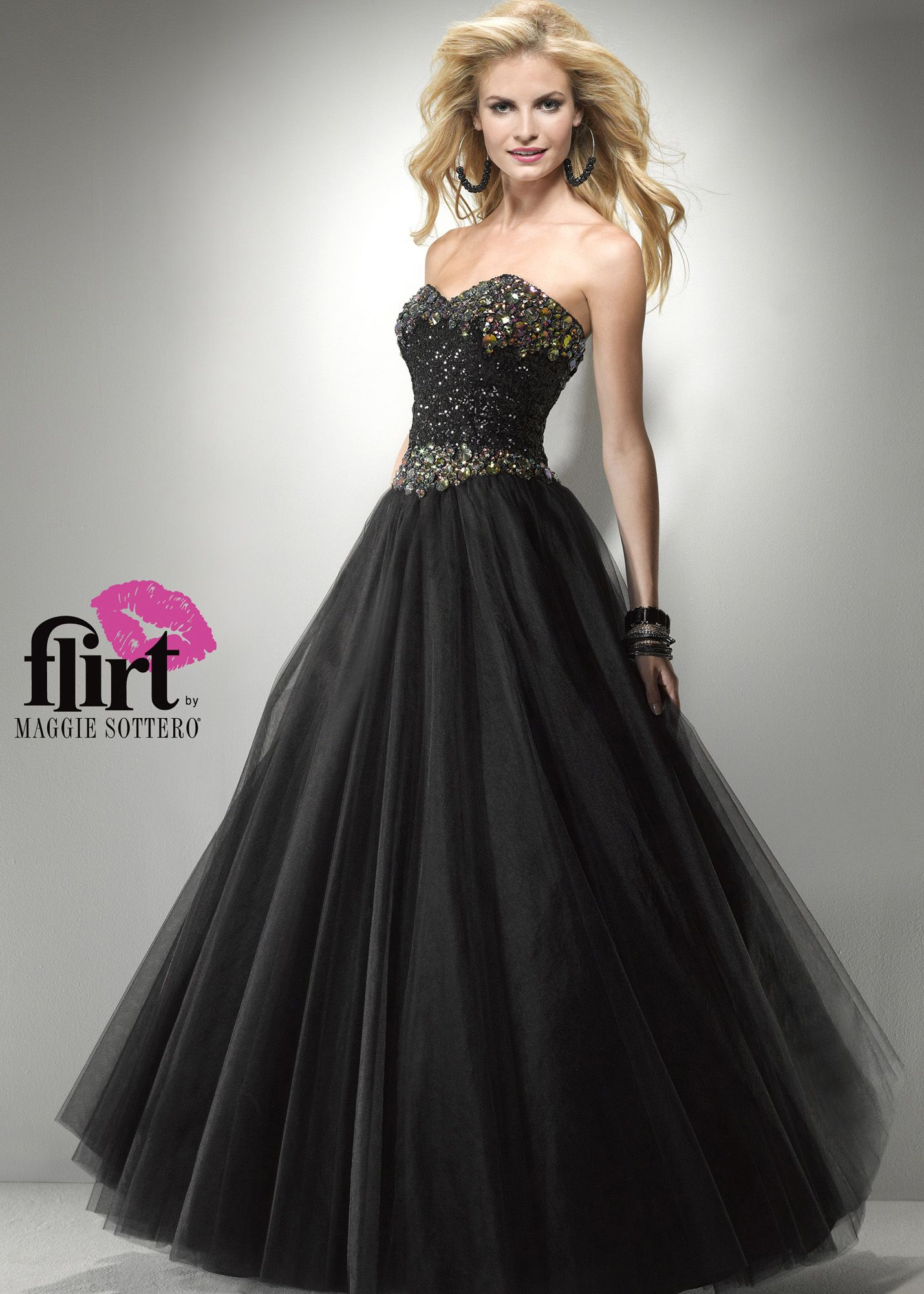 Buy now Flirt by Maggie Sottero P5794 black strapless ball gown ...