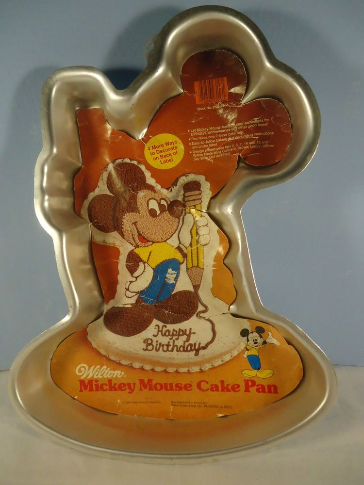 VTG Wilton Disney 1984 Mickey Mouse With Pencil Birthday Cake Pan Insert  5022987 #Wilton #