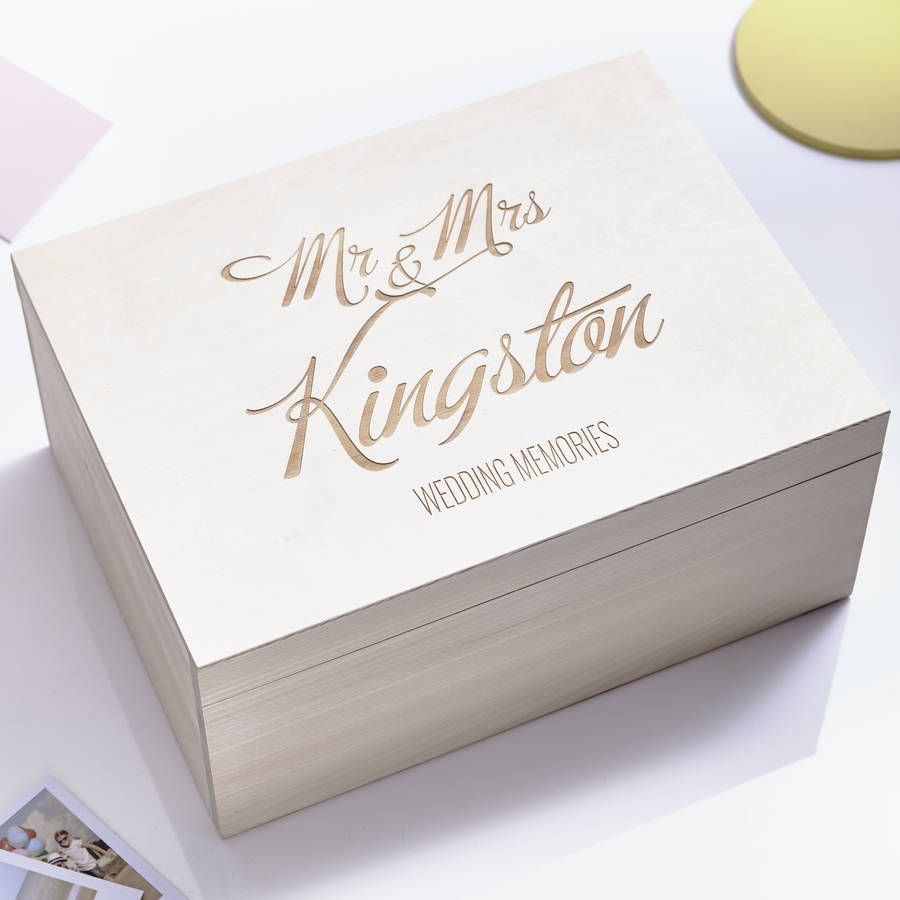 Large Personalised Elegant Wedding Keepsake Box With Images