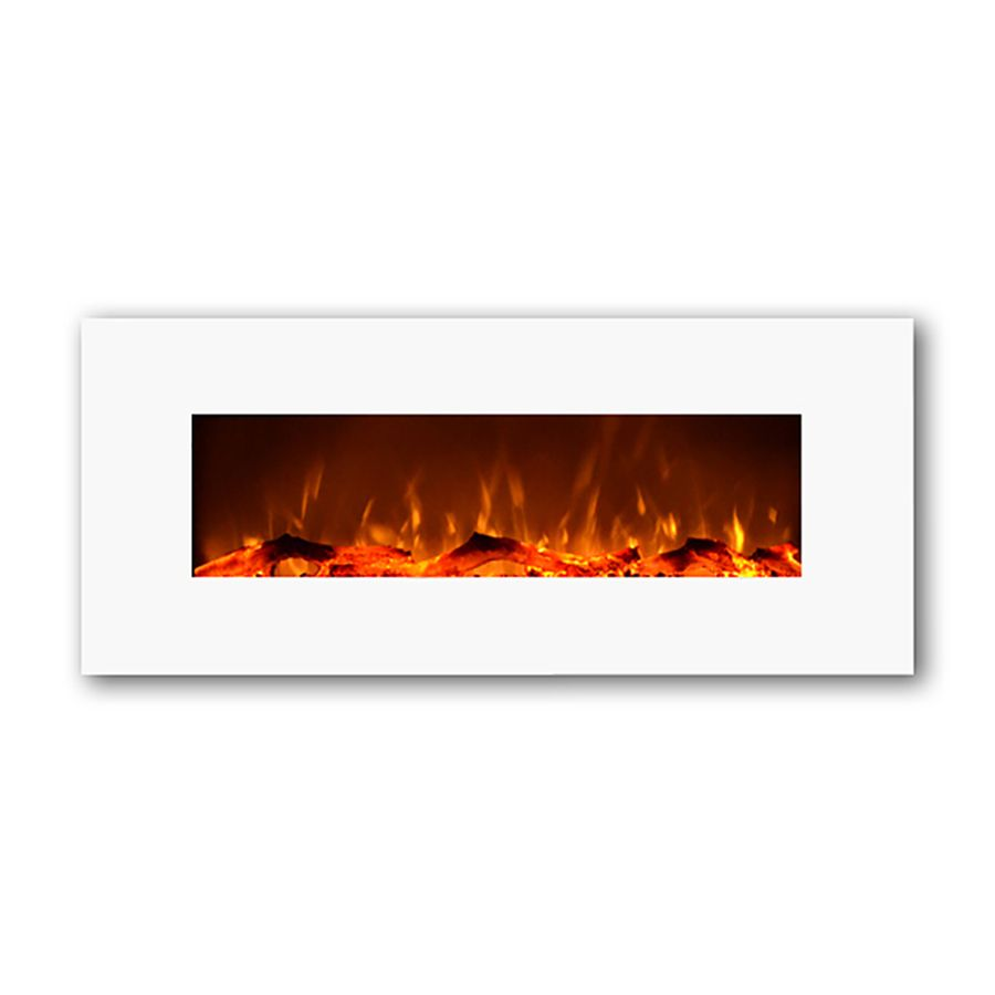 Touchstone 50 4 In W 5118 Btu Ivory Wall Mount Electric Fireplace With Thermostat And Re Wall Mount Electric Fireplace Mounted Fireplace Wall Mounted Fireplace