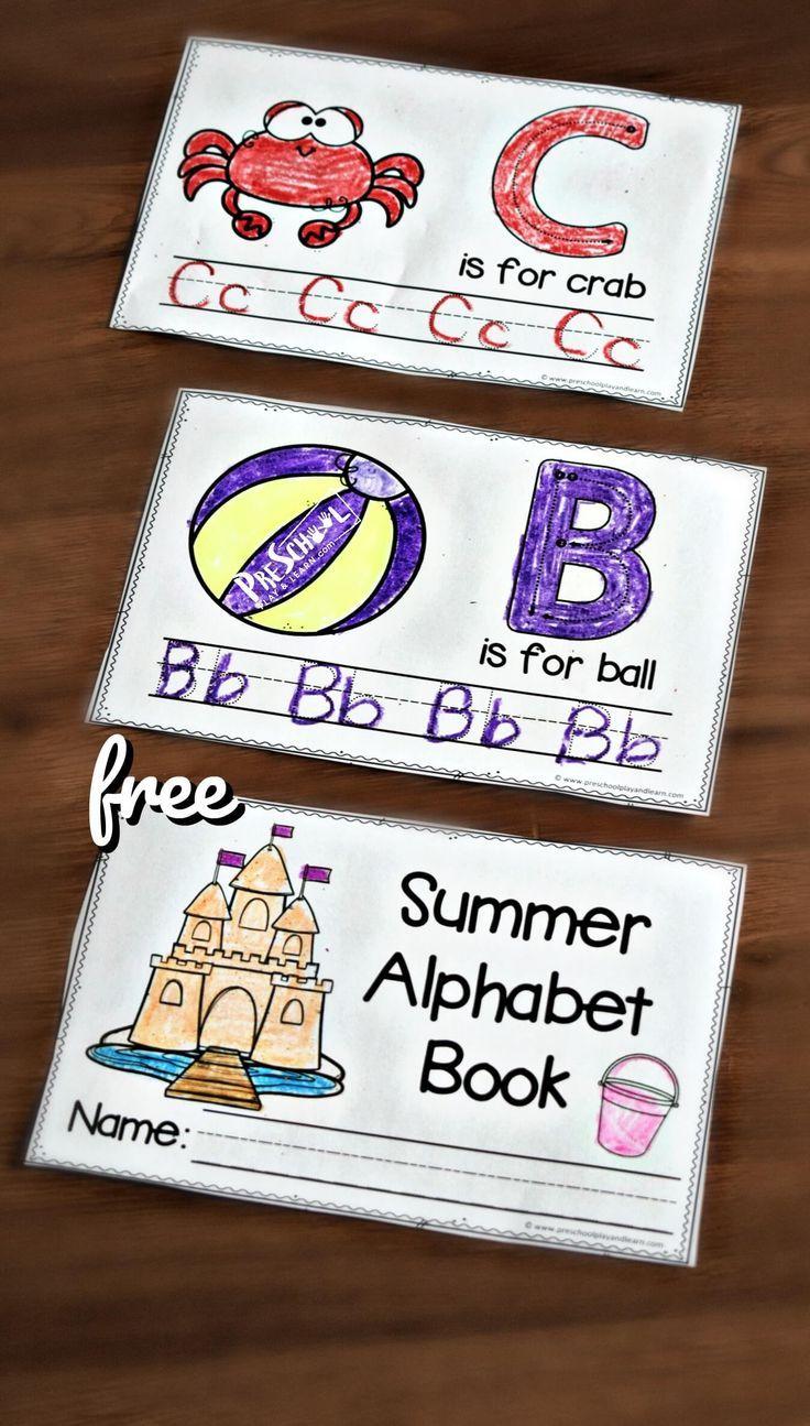 Free Summer Handwriting Worksheets This Printable Summer Alphabet Book Makes It Fun For Pres Alphabet Book Handwriting Worksheets For Kids Alphabet Preschool [ 1295 x 736 Pixel ]