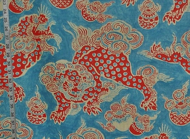 Asian Oriental dragon fabric Foo Dog lion blue orange | Fabrics ...