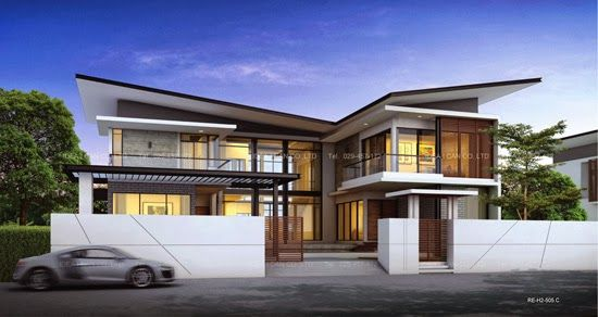 Modern Tropical House Design 2 story home plans butterfly roof, modern style, living area 327