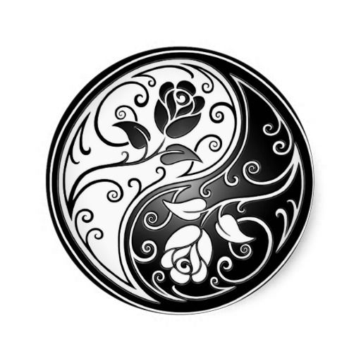 Yin yang roses black classic round sticker tattoo yin for Architecture yin yang