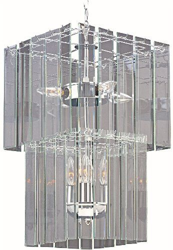 Park madison lighting pmc690415 7 light clear beveled glass square chandelier ceiling fixture with polished chrome