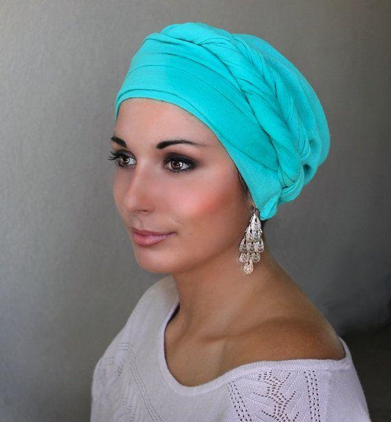 Jade Cotton Gauze Turban Hat Head Wrap Chemo Hat by TurbanDiva