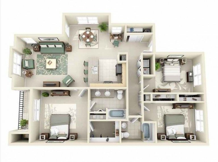 75 Modern And Newest 3 Bedroom 3d 3 Bedroom Plans Three Bedroom House Plan Apartment Layout Apartment Floor Plans