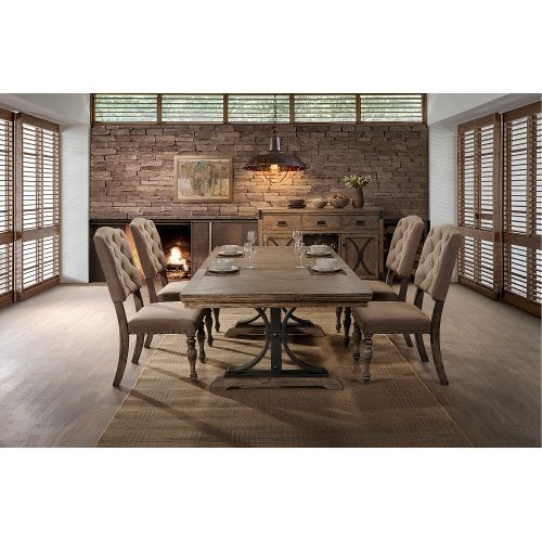 Driftwood 5 Piece Dining Set With Tufted Chairs   Metropolitan Collection