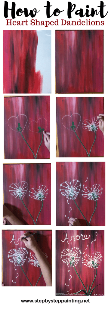 How To Paint Heart Shape Dandelions - Step By Step Painting