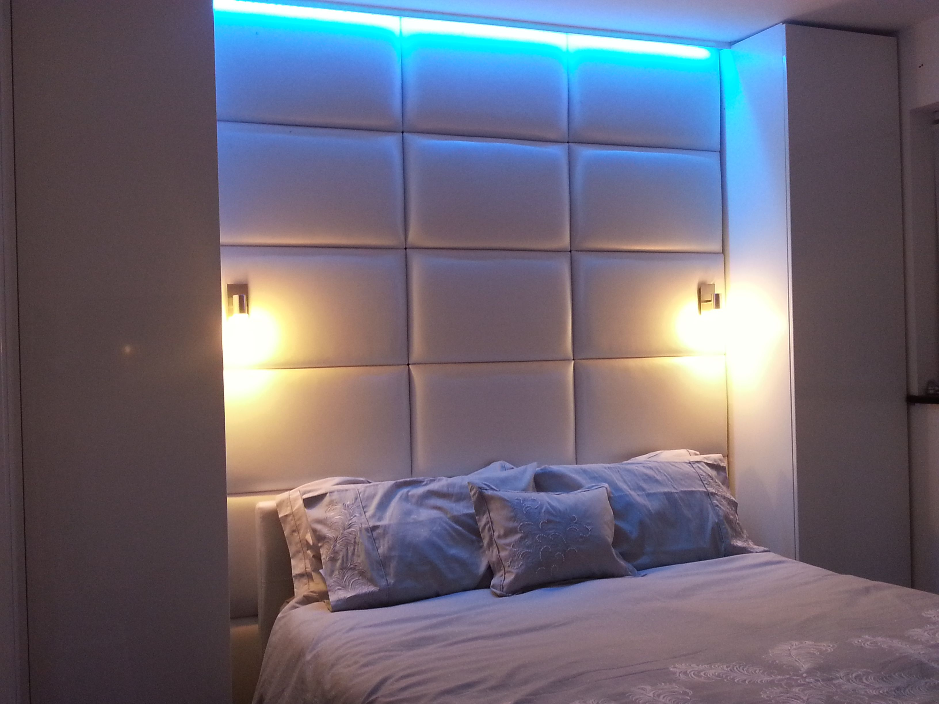 White Faux Leather & LED 1 Wall sconces bedroom, Bedroom