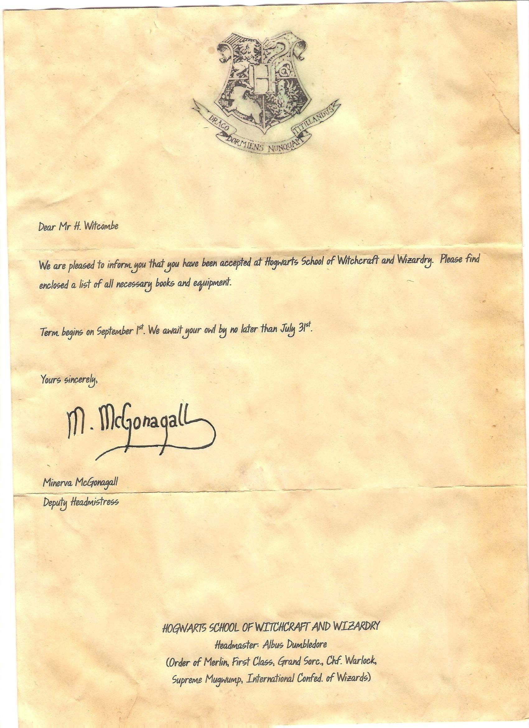 Hogwarts Letter Template Ten Top Risks Of Hogwarts Letter
