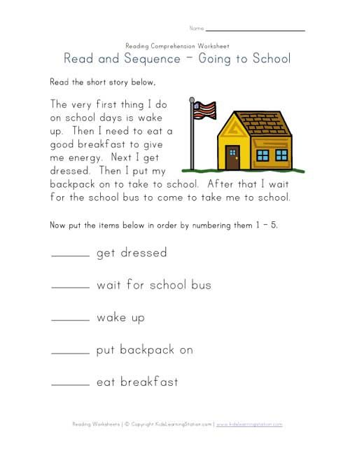 Read and Sequence Getting Ready for School b – 1st Grade Comprehension Worksheets