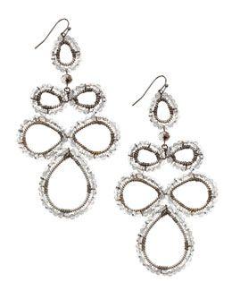 Y1SP1 Nakamol Beaded Flower Pendant Earrings, Silver/Gunmetal